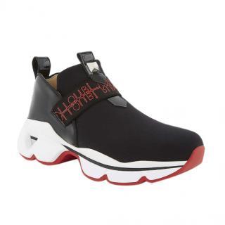 Christian Louboutin Black Lipsyrun Neoprene Sneakers