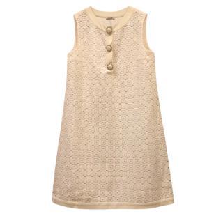 Miu Miu Beige Embroidered A-Line Dress