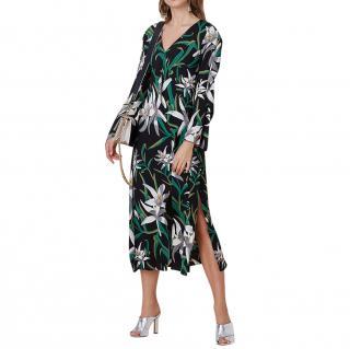DVF Black & Green Harlow Printed Dress