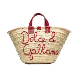 Dolce & Gabbana Kendra logo-embroidered raffia tote bag