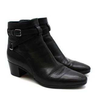 Saint Laurent Black Leather Ankle Boots