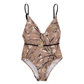 Zimmermann Beige Floral Belted Swimsuit