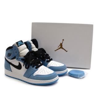 Nike 'University Blue' Leather & Suede Air Jordan 1 Mid Trainers