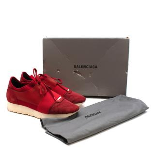 Balenciaga Red Race Runners Leather & Mesh Trainers