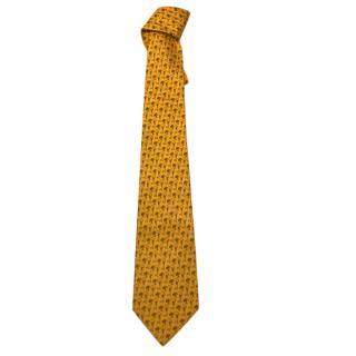 Ferragamo Yellow Silk Printed Tie