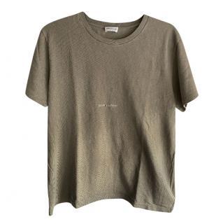 Saint Laurent Khaki Logo T-Shirt