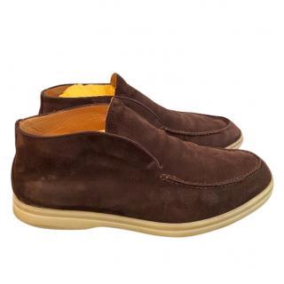 Loro Piana Summer Walk Brown Suede Shoes