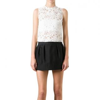 Saint Laurent White Sleeveless Lace Top