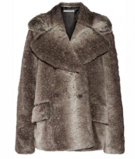 Alessandra Rich Faux Fur Brown Jacket