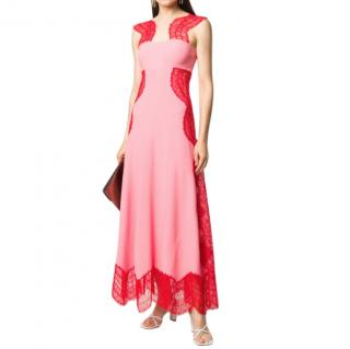 Givenchy Red & Pink Lace Panelled Gown