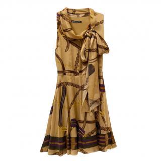 Ralph Lauren Blue Label Beige Stirrup Print Dress