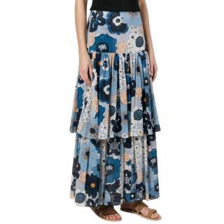 Chloe Floral-print Cotton-gaufr� Maxi Skirt