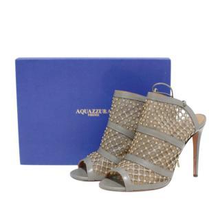 Aquazzura Grey Embellished Cut-Out Sandals