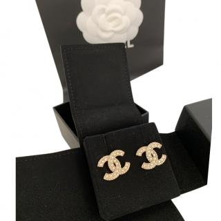 Chanel Gold Tone Crystal Embellished CC Earrings
