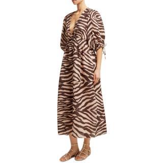 Zimmermann Zebra-print linen midi dress