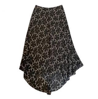 Celine Black & White Floral Print Asymmetric Skirt