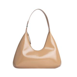 By Far Cream Semi Patent Leather Amber Shoulder Bag
