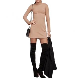 Reformation Ribbed Knit Beige Rochelle Dress