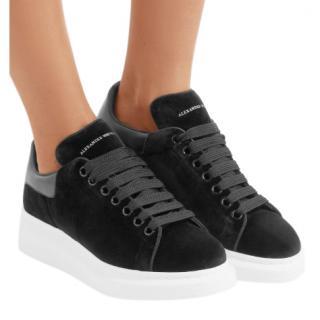 Alexander McQueen Black Velvet Oversize Sneakers