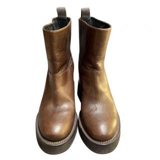 Brunello Cucinelli Brown Leather Platform Boots