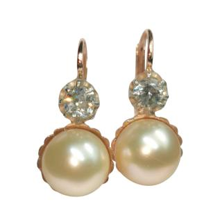 Bespoke Antique Diamond & Pearl 14ct Gold Drop Earrings