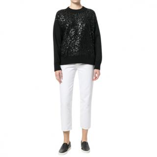 Moncler cracked patent effect sweater