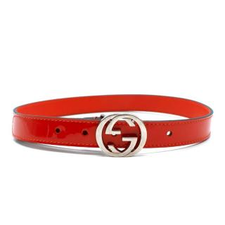 Gucci Kids Small 2-4 Years Orange Patent Leather Belt
