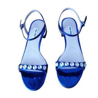 Miu Miu Blue Patent Leather Sandals