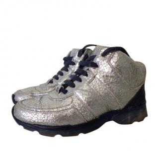 Chanel Metallic Crackled Silver Leather Sneakers