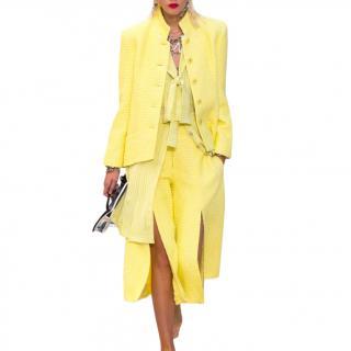 2019 Spring Yellow Tweed High Neck Jacket