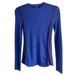 Louis Vuitton Blue Two-Tone Knit Top
