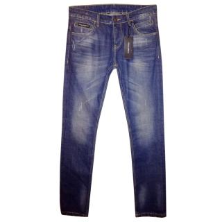 Dolce & Gabbana Washed Blue Denim Jeans