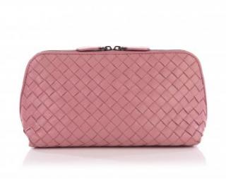 Bottega Veneta Boudoir Pink Intrecciato Leather Cosmetic Case