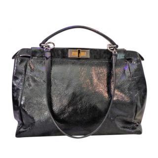 Fendi Black Crackled Patent Leather Peek-A-Boo Bag