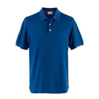 Hermes Sellier Blue Cotton Blend Double Jeu Polo Shirt