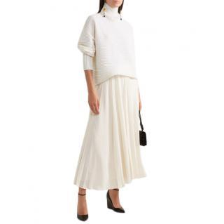 Valentino Ivory Pleated Silk Maxi Skirt
