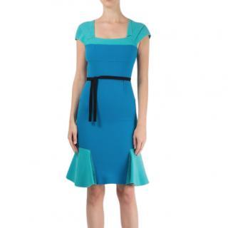 Roland Mouret Blue Annabelle Ruffle Dress