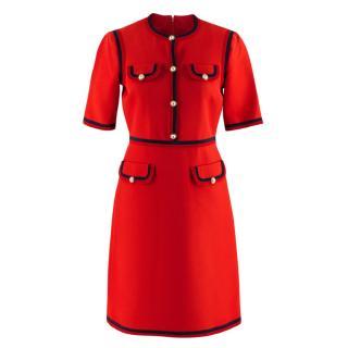 Gucci Red Wool & Silk Blend Web Trim GG Dress