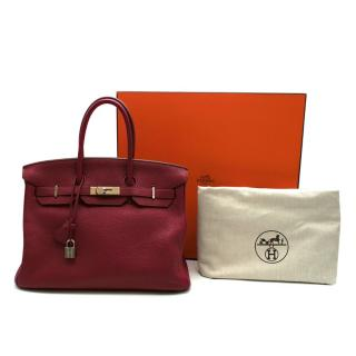 Hermes Togo Leather Rubis Birkin 35 PHW