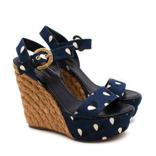 Louis Vuitton Blue Print Wedge Sandals