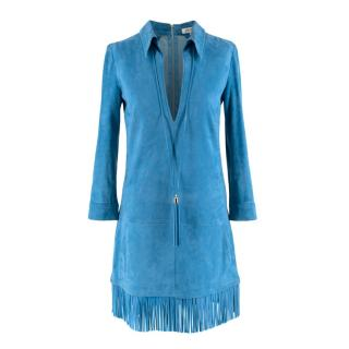 Jitrois Blue Fringed Suede Pendant Dress