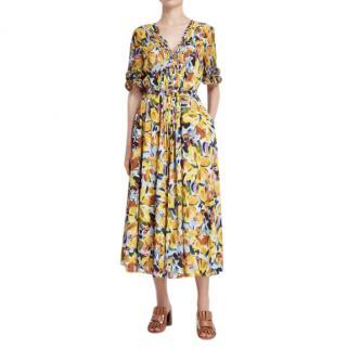 Badgley Mischka Yellow Floral Print Crepe De Chine Dress