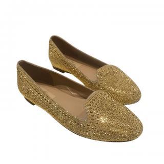 Valentino Garavani Gold Embellished Loafers