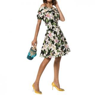 Dolce & Gabbana Lily Print Off-Shoulder Dress