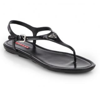 Prada Black Patent Thong Sandals with Logo Plaque