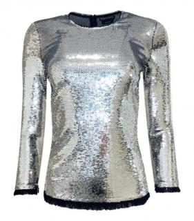 Tom Ford Silver Sequin Long Sleeve Top