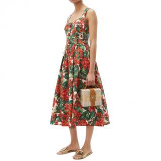 Dolce & Gabbana Geranium Print Midi Dress