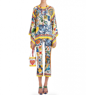 Dolce & Gabbana Yellow Majolica Print Silk Top & Pants