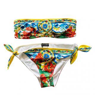Dolce & Gabbana Majolica Print Bandeau Bikini