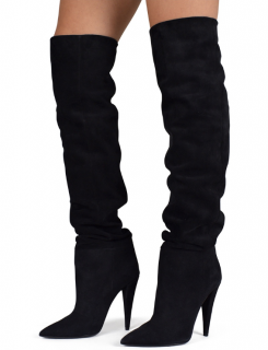 Saint Laurent Black Suede Ruched Knee Boots